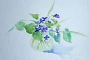 Violets in Glass Vase
